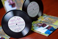 These Music Themed Wedding Invitations are designed like a Vinyl Record. Printed & handmade by empire invites in Winnipeg Canada - We Ship Whimsical Wedding Invitations, Burgundy Wedding Invitations, Minimalist Wedding Invitations, Custom Invitations, Handmade Invitations, Wedding Favors, Vintage Vinyl Records, Celebrity Weddings, Unique Weddings