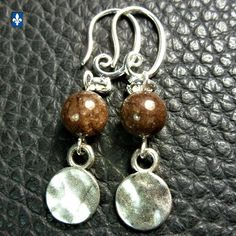 ♥ EASY SHIP TO USA UK CA EU  Cute Coffee Agate & Plated Silver Earrings  | eBay