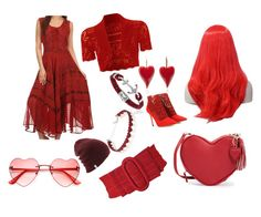 """little red"" by bigcouponsister ❤ liked on Polyvore featuring Jimmy Choo, WearAll and Simons"