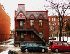 Montreal. The 1682, 1684 Panet Street.    Built: 1876.  Profusion of ornamentation origin at the roof: flag, false mansard, decorative pediments, wide molded cornice and slate cladding to various reasons.