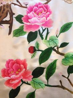 ANTIQUE 19TH CENTURY CHINESE+ JAPANI SILK HAND EMBROIDERED BANNER PANEL | eBay