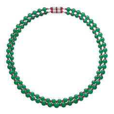 TWO JADEITE, RUBY AND DIAMOND NECKLACES - $666,000 - 923,000 Each composed of fifty-one graduated jadeite beads of good translucent emerald green colour, spaced by tumbled ruby beads, completed by a cylindrical clasp, length approximately 760 and 717mm. Beads measuring app 12.98 to 8.76mm.