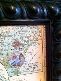 Old World Inspired Vintage Italian Map Magnetic and Message Board in solid wood frame