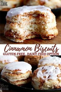 Soft and flakey gluten-free biscuits layered with cinnamon and topped with a vanilla glaze. This recipe for gluten-free cinnamon biscuits is easy to follow as also has a dairy-free option. #biscuits #gltuenfreerecipes #dairyfree