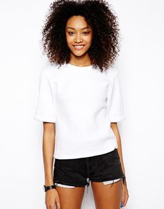 Quilted cropped sweater