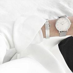 KLARF   WHITE & SILVER mesh bracelet stainless steel watch #klarf #klarfwatches #watches #minimal #accessories #design #style #chic #watch