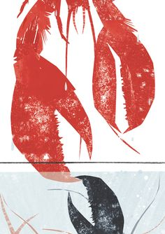 lobster, crab, sea, print, printmaking, claw, nature, colour, texture, illustration, lino