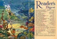 """Reader's Digest front and back cover, August 1956 Illustration: """"Skin Diver's Paradise"""" by Warren Baumgartner Skin Diver, 3d Printer Projects, Readers Digest, Mini Books, Vintage Pictures, Vintage Art, The Dreamers, Illustration, Scuba Diving"""