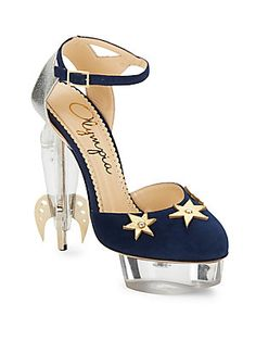 Charlotte Olympia Fly Me To The Moon Suede & Leather Sandals In Night Sky Clear High Heels, Clear Shoes, Suede Leather, Leather Sandals, Stiletto Heels, Shoes Heels, Ankle Strap Sandals, Sandals Platform, Heels Outfits