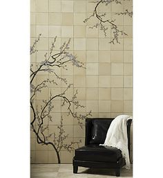 Kitchen backsplash idea: Ann Sacks Tile: Sakura (Cherry Blossom) wall mural tile. $140/sf
