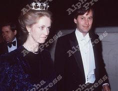 Penny Romsey, wearing the Mountbatten star tiara, at some point in the 1980s, with her husband, Norton.