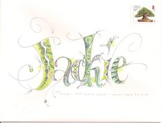 here is my thank you to jackie, done in the hillarian style. oh-my-goodness. i can't begin to tell you how ugly this one was. i did not thi. Hand Lettering Envelopes, Calligraphy Envelope, Envelope Art, Envelope Design, Envelope Addressing, Alphabet Letters Design, Fancy Letters, Letter Designs, Writing Letters