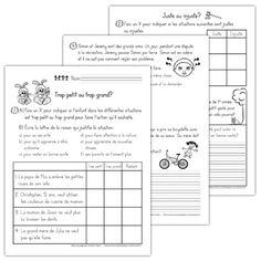 Fichier PDF téléchargeable En noir et blanc 3 pages  Cet exercice contient 5 numéros (3 pages) dont les volets sont: trop petit ou trop grand, juste ou injuste et l'environnement.