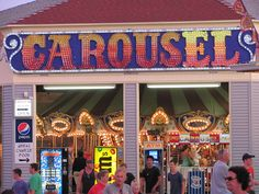 This is a picture of the new sign on the Old Orchard Beach carousel. In Archers Beach, there's a large lighted CAROUSEL sign on the roof. Old Orchard Beach, Rachel Carson, Work Site, Ocean Park, New Sign, Taking Pictures, Carousel, Coastal, Old Things