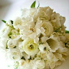 """All White"" Florals Wedding Bouquet With: Fringed Tulips, Ranunculus, Gardenias, Hydrangea, Lily Of The Valley ~~"