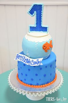 1st Birthday Cake with Sculpted Fish Bowl by Beverly's Bakery