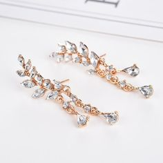 CZ Crystal Leaf Ear Cuffs Climber Earrings Sweep Up Wrap Earring S Vine Jewelry Perfect Valentine's Day Gifts Color Gold Cuff Earrings, Rhinestone Earrings, Crystal Earrings, Statement Earrings, Silver Earrings, Fashion Earrings Online, Beautiful Earrings, Women Jewelry, Jewelry Accessories