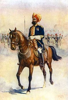 Soldier of the Murray's Jat Lancers, Risaldar-Major, illustration for 'Armies of India' by Major G. MacMunn, published in 1909 Wall Art & Canvas Prints by Alfred Crowdy Lovett Military Art, Military History, Military Uniforms, Commonwealth, Bengal Lancer, Colonial India, British Colonial, Indiana, British Army