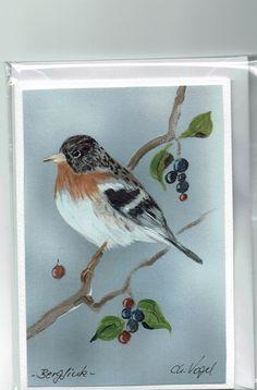 Grüße - Grußkarte - Bergfink, handgemalt - ein Designerstück von Vogelmalerin…