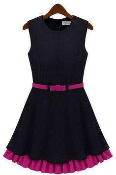 Black Double Layer Contrast Color Hem Vest Dress