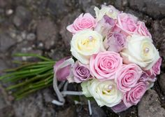 ivory lilac & pink rose bridal bouquet