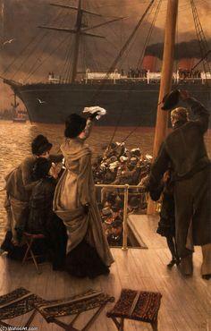 James Jacques Joseph Tissot >> huile sur toile >> Au revoir, sur la Mersey