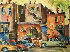 """Backsides-Morristown, NJ by Jinnie May Watercolor ~ 22"""" x 30"""""""