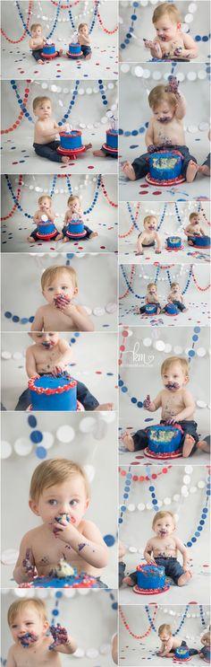 baseball themed cake smash - 1st birthday photography - twin boys cake smash photography