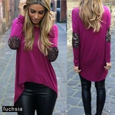 """Glittery Elbow Patch Hi Low Top Color is slightly more on the pink side. Stretchy spandex material. Please check your measurements. Manufacturer measurements: Bust 42.1"""", Shoulder 15.2"""", Sleeves 24.2"""", Front Length 23.4"""", Back Length 26.1"""" Tops"""