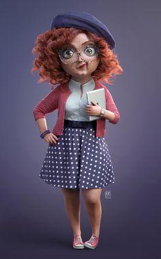 Bringing Martha to life By Ricardo Manso 3d Model Character, Character Modeling, Character Creation, Character Concept, Character Art, 3d Modeling, Cartoon Pics, Cute Cartoon Wallpapers, Girl Cartoon