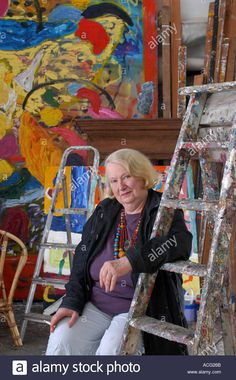 Stock Photo - Artist Gillian Ayres at home in Gooseham Cornwall Gillian lost pieces of artwork in the Momart fire Famous Artists, Great Artists, Abstract Paintings, Abstract Art, Eddie Martinez, Fire Image, Attractive People, Tag Art, Archie