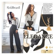 """Elegance"" by pokadoll ❤ liked on Polyvore featuring Yves Saint Laurent, Jimmy Choo, Valentino, Allurez and rickibrazil"