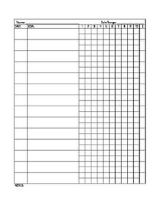 Use this form to document progress and data for each