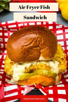 This Air Fryer Cod Fish Sandwich recipe is quick and easy to make using fillets breaded with panko and topped on a brioche bun with melted cheese, pickles, and tartar sauce. Cut the fat and make this healthy dish right at home. #AirFryer #AirFryerFish Air Fryer Recipes Chicken Wings, Air Fryer Oven Recipes, Air Fry Recipes, Fish Recipes, Cooking Recipes, Diner Recipes, Recipies, Fish Sandwich, Sandwich Recipes