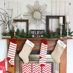 """""""Believe"""" Christmas Mantel (I have that statue too)"""