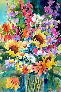 """FLORAL FRENZY by Mary Shepard Watercolor ~ Image size: 15 x 22"""" unframed"""