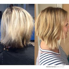When my client came for her first visit she wanted a natural, balayage blonde. We have been treating and taking care of her hair for a full year to reduce damage, shift her hair color and transition from highlights to a rooty natural balayage. Why does it take so long? Because the health of your hair is the most important. Bye damage, hello gorgeous blonde.