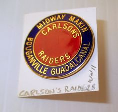 SOLD--- This insignia pin is for the U. It states Midway Makin and Bouganville Guadalcanal. The card states WWII. One inch round. Usmc, Marines, Marine Raiders, Military Uniforms, Wwii, Gift Ideas, Cards, World War Ii, Maps