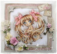 """Card by DT Member Karita Vainio, using papers from Pion Design's """"For Mother"""" collection. The image called Aleisha is a digi available from Make It Crafty and was coloured with Copics."""