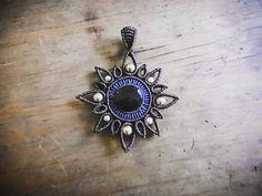 Macrame mandara flower obsidian necklace  by iishii on Etsy