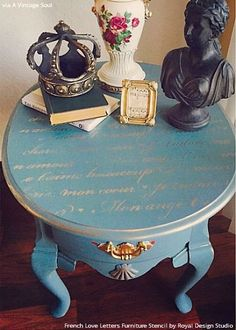 ... Designer Blue Side Table DIY Project Paitned with French Love Letters Furniture Stencils - Royal Design ...