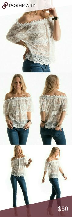 """Just Arrived! Crochet Lace Off-shoulder Top Crochet Lace, Off-Shoulder Top. Beautiful!!!   Sizes: S, M, L  Measurements: Small --   Length: 22"""", Bust: 18"""", Sleeve: 10"""", Hem width: 20"""".  (Other measurements will be available after received.) Tops"""