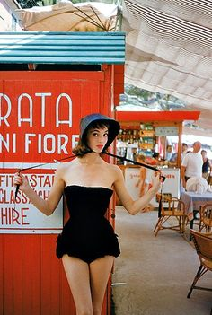 Elsa in black corduroy bathing suit by Simonetta featuring bloomer pants, photo by Mark Shaw in Portofino for LIFE, Jan. 1955