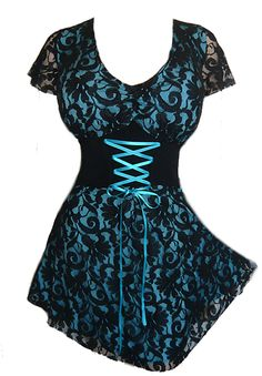 Plus Size Turquoise and Black Lace Sweetheart Corset Top Sexy Outfits, Pretty Outfits, Cool Outfits, Plus Size Corset Tops, Goth Outfit, Estilo Rock, Gothic Fashion, Steampunk Fashion, Emo Fashion