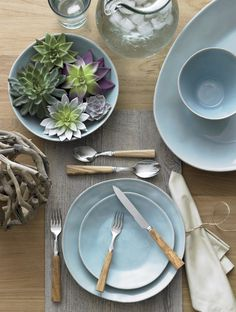 Marin Blue Dinnerware Set - Crate and Barrel Crate And Barrel, Barrel Table, Outdoor Table Settings, Blue Dinner Plates, Rustic Dinner Plates, Blue Dinnerware, Casual Dinnerware, Modern Dinnerware, Kitchen Dishes