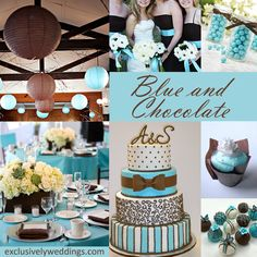 Chocolate and Blue Wedding Colors - Chocolate Brown works beautifully with blue! | #exclusivelyweddings