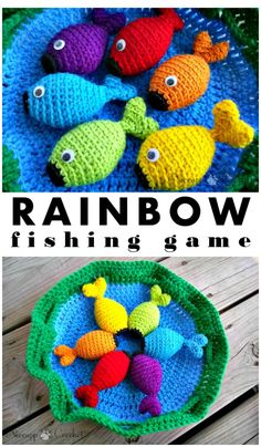 Crochet Toys For Boys Stylish and Easy Free Crochet Rainbow Fishing Game Pattern Crochet Game, Cute Crochet, Crochet For Kids, Crochet Crafts, Crochet Toys, Diy Crafts, Crochet Fish Patterns, Crochet Patterns Amigurumi, Amigurumi Toys