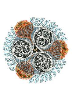 3 Autumn Trees Circle of Life Celtic Knot Samhain Lughnasadh 3 cards  | lisewinne - Cards on ArtFire