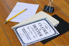 School nerd calculus chalkboard pencil file folder wedding invitation suite by Anthologie Press