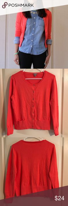 "J. Jill Coral Long Sleeve Cardigan Petite Medium Pretty Coral color sweater with two pockets in front. Perfect for fall and layering your clothes! Great condition!   •Measures 20"" across bust front, length 24"". •Great condition!  •86% Cotton, 12% Nylon, 2% Lyrca Spandex    ☾I do NOT trade ✭10% off 2+ item bundles Instagram @Yami.Boutique (Secret Pop Up Discount codes!) J. Jill Sweaters Cardigans"